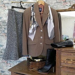 GAP Mocha Brown Wool Blend Lined Blazer Size XS